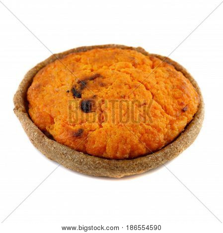 the traditional Latvian carrot pie sklandrausis on white background