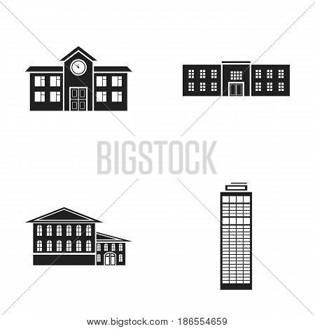 Skyscraper, police, hotel, school.Building set collection icons in black style vector symbol stock illustration .