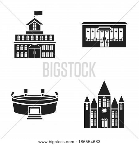 House of government, stadium, cafe, church.Building set collection icons in black style vector symbol stock illustration .