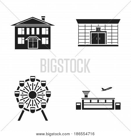 Airport, bank, residential building, ferris wheel.Building set collection icons in black style vector symbol stock illustration .