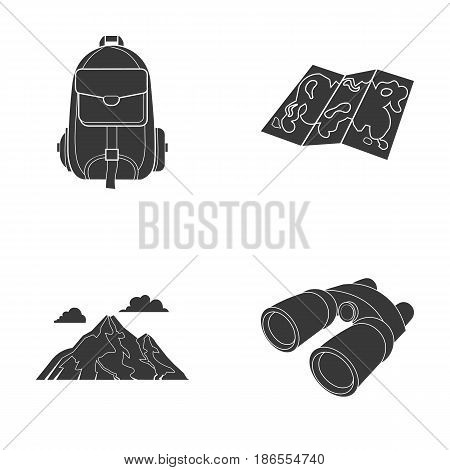 Backpack, mountains, map of the area, binoculars. Camping set collection icons in black style vector symbol stock illustration .