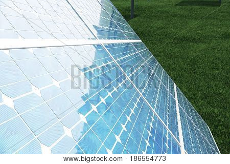 3D illustration solar panels. Solar panel produces green, environmentally friendly energy from the sun. Concept energy of the future..