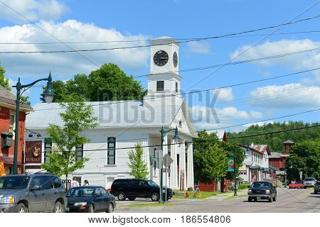 JOHNSON, VT, USA - JUL.11, 2014: Masonic Temple in town of Johnson, Vermont, USA.