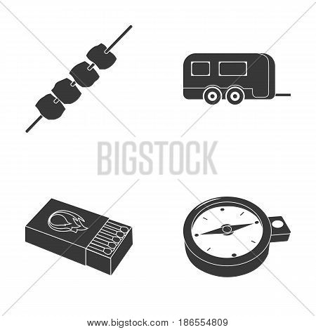 Trailer, shish kebab, matches, compass. Camping set collection icons in black style vector symbol stock illustration .