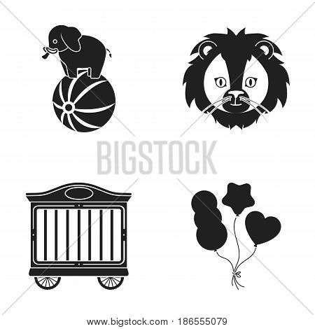 Elephant on the ball, circus trailer, circus lion, balls.Circus set collection icons in black style vector symbol stock illustration .