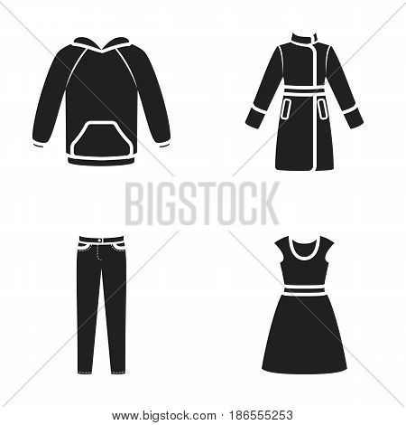 Dress with short sleeves, trousers, coats, raglan.Clothing set collection icons in black style vector symbol stock illustration .