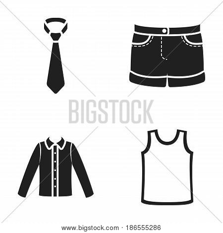 Shirt with long sleeves, shorts, T-shirt, tie.Clothing set collection icons in black style vector symbol stock illustration .