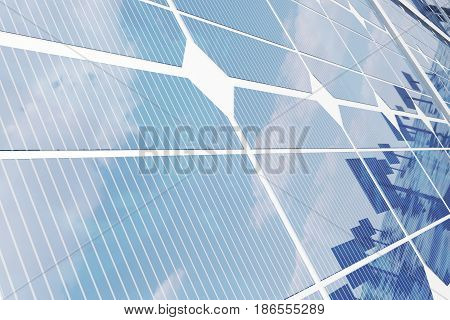 3D illustration solar panels. Solar panel produces green, environmentally friendly energy from the sun. Concept energy of the future