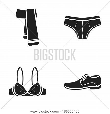 Male shoes, bra, panties, scarf, leather. Clothing set collection icons in black style vector symbol stock illustration .