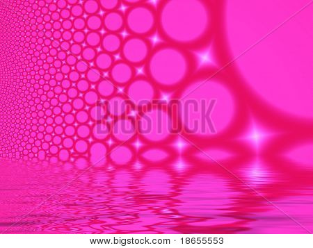 Fractal image depicting many abstract champagne bubbles reflected.