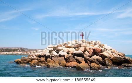 Jetty / Breakwater for the Puerto San Jose Del Cabo harbor / marina in Baja Mexico BCS
