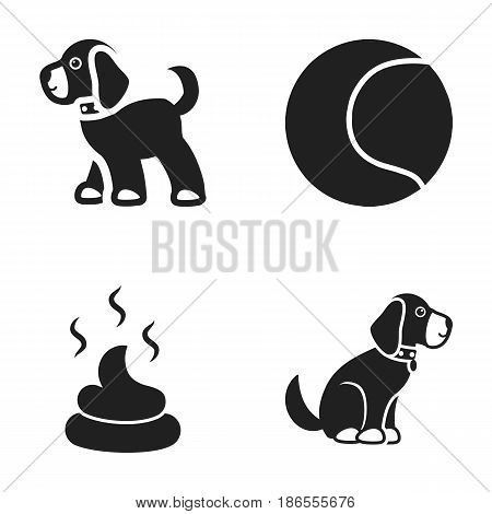 Dog sitting, dog standing, tennis ball, feces. Dog set collection icons in black style vector symbol stock illustration .