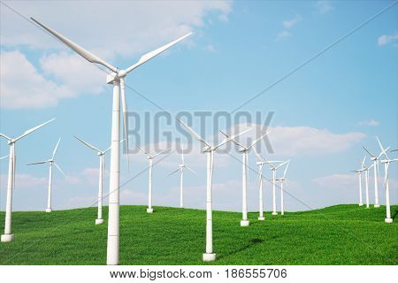 3d iluustration, turbine in the field, green, wind turbine, generate, eco power. environmentally friendly energy from the sun. Concept energy of the future