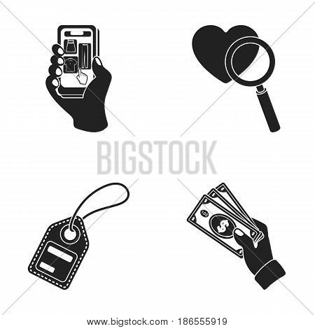 Hand, mobile phone, online store and other equipment. E commerce set collection icons in black style vector symbol stock illustration .