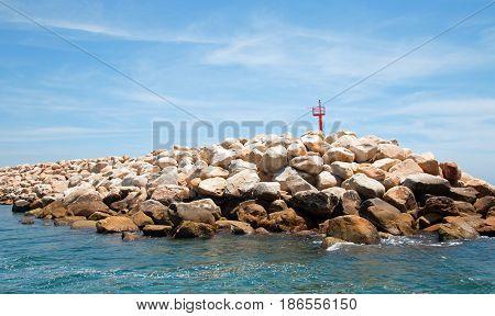 Breakwater / jetty for the Puerto San Jose Del Cabo harbor / marina in Baja Mexico B C S