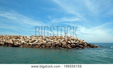 Breakwater / jetty for the Puerto San Jose Del Cabo harbor / marina in Baja Mexico BCS