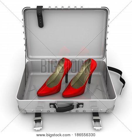 Red female shoes with high heels are in an open suitcase. 3D Illustration. Isolated