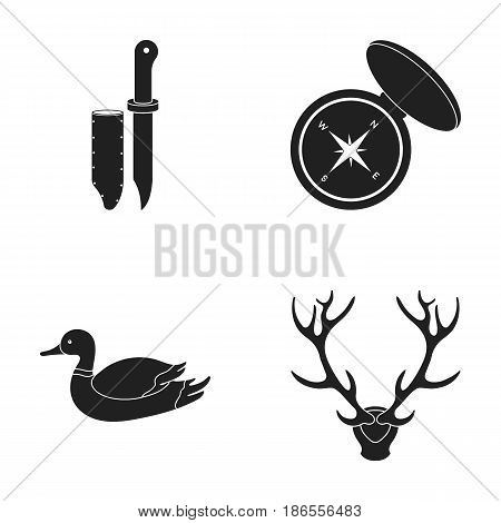 Knife with a cover, a duck, a deer horn, a compass with a lid..Hunting set collection icons in black style vector symbol stock illustration .