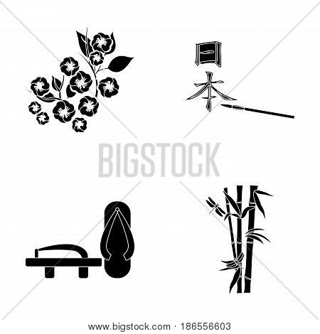 Geta, sakura flowers, bamboo, hieroglyph.Japan set collection icons in black style vector symbol stock illustration .