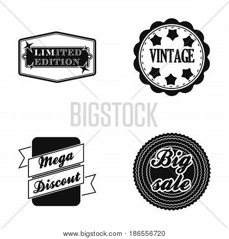 Limited edition, vintage, mega discont, dig sale.Label, set collection icons in black style vector symbol stock illustration .
