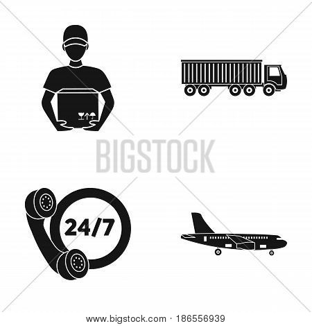 Round-the-clock communication, courier with box, truck, cargo plane. Logistic, set collection icons in black style vector symbol stock illustration .