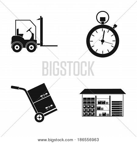 Autoloader, goods trolley, stop watch, warehouse. Logistic, set collection icons in black style vector symbol stock illustration .