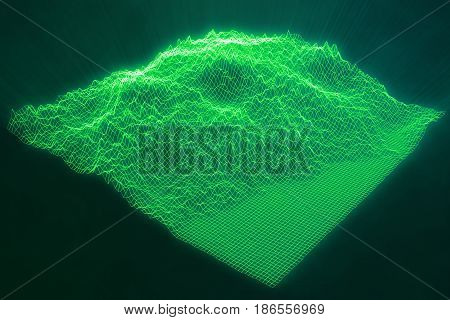 3D illustration concept internet connections in cloud computing. Cyberspace landscape grid. 3d technology. Abstract green landscape on black background with light rays