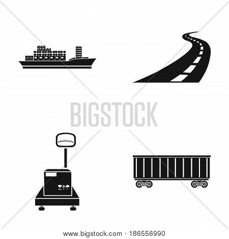 Cargo ship, railway car, scales with box, road. Logistic, set collection icons in black style vector symbol stock illustration .