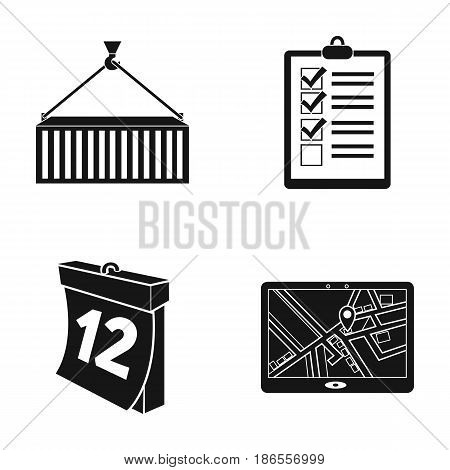 Metal container, documents, waybills, signature, calendar, JPS navigator. Logistic, set collection icons in black style vector symbol stock illustration .