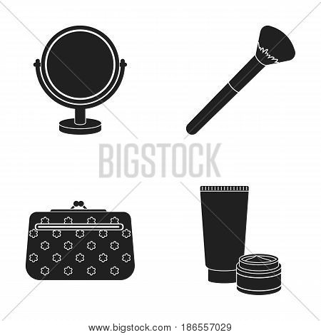 Table mirror, cosmetic bag, face brush, body cream.Makeup set collection icons in black style vector symbol stock illustration .