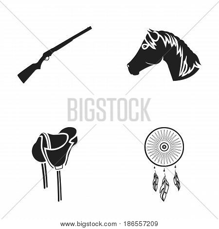 A gun, a horse's head, a saddle, a catcher of dreams.Wild west set collection icons in black style vector symbol stock illustration .