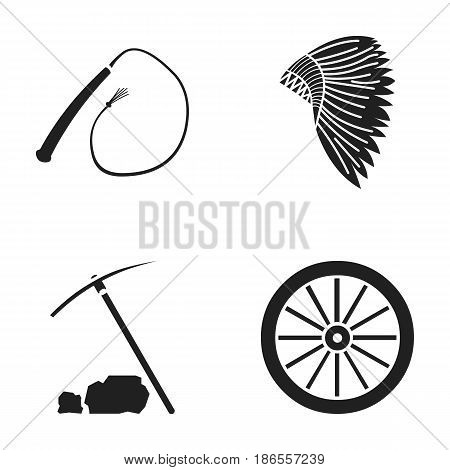 A whip, an Indian maghawk, a wheel from a cart, a pick and a hoe.Wild west set collection icons in black style vector symbol stock illustration .