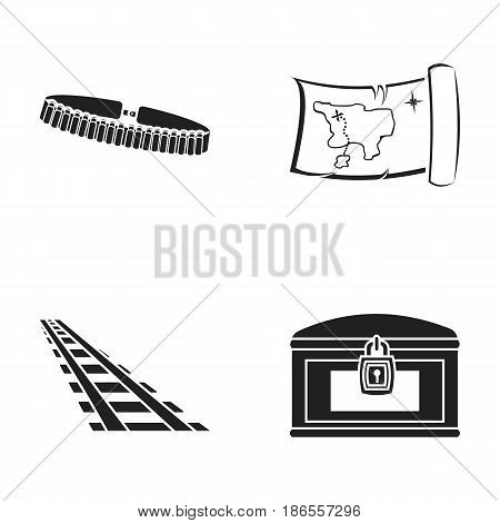 Bandolier, treasure map, chest, rails.Wild west set collection icons in black style vector symbol stock illustration .