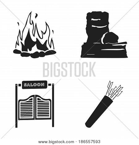 A bonfire, a door to a saloon, a quiver with arrows, a rock.Wild west set collection icons in black style vector symbol stock illustration .