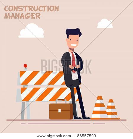 Businessman is a manager or a foreman is standing near the building fences. Man in a business suit. Flat character in flat style isolated on color background