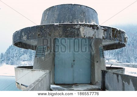 Dam watching tower over Mavrovo Lake, Mavrovo National Park, Republic of Macedonia