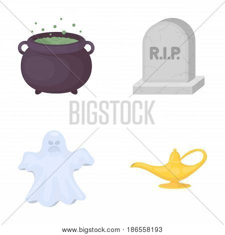 A witch's cauldron, a tombstone, a ghost, a gin lamp.Black and white magic set collection icons in cartoon style vector symbol stock illustration .