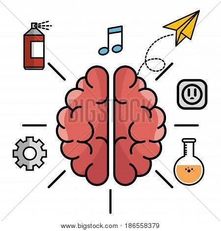 Brain with gear wheel, spray paint can, beam notes, paper plane, electric outlet and flask over white background. Vector illustration.