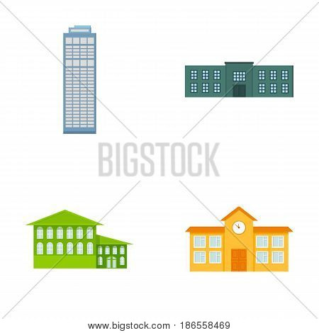 Skyscraper, police, hotel, school.Building set collection icons in cartoon style vector symbol stock illustration .