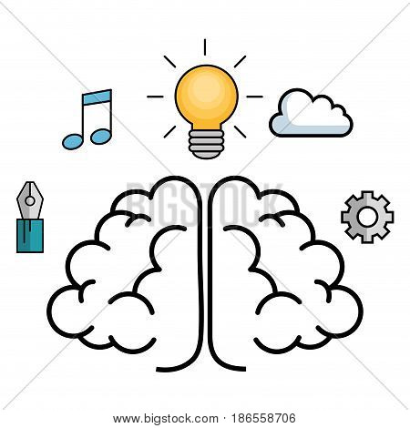 Brain, writing pen, beam notes, yellow light bulb, cloud and gear wheel over white background. Vector illustration.
