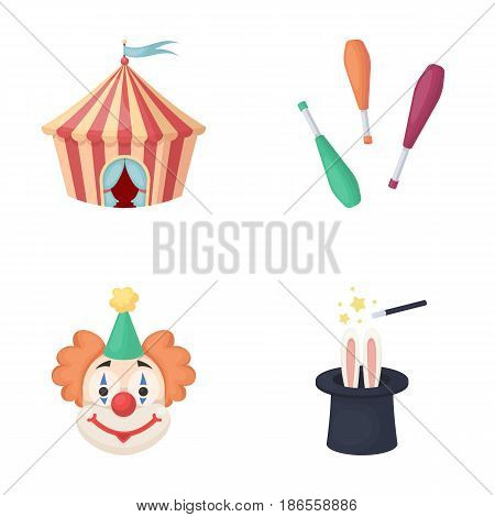 Circus tent, juggler maces, clown, magician's hat.Circus set collection icons in cartoon style vector symbol stock illustration .