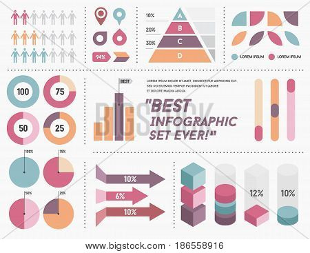 Infographics Elements and Objects Big Huge Set All Kinds of Infographic Modern for Business with Flat Design For Web, Print Booklets Brochures or Applications