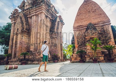Man Tourist In Vietnam. Po Nagar Cham Tovers. Asia Travel Concept.