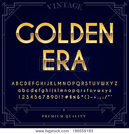Gold Metallic Font Set. Letters, Numbers and Special Characters in Vector
