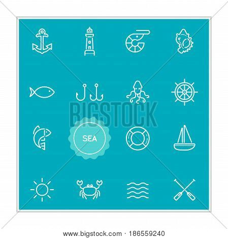 Set of Sea Food Vector Illustration Elements can be used as Logo or Icon in premium quality