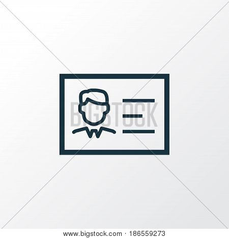 Identification Outline Symbol. Premium Quality Isolated Id Card Element In Trendy Style.