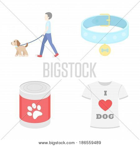 A man walks with a dog, a collar with a medal, food, a T-shirt I love dog.Dog set collection icons in cartoon style vector symbol stock illustration .