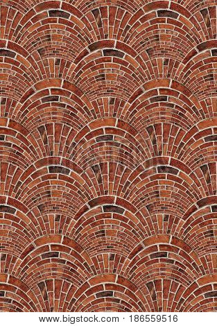Seamless texture red brown bricks wall background abstract pattern texture. Arch arc mosaic bricks wall terracotta colors. Red bricks wall street mosaic. Bricks gray white concrete. Brick arch shape