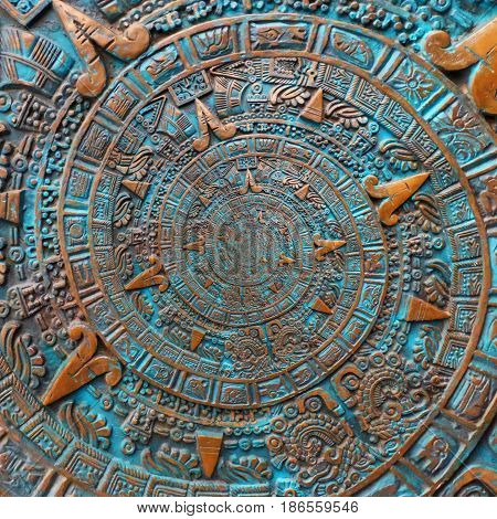 Bronze ancient antique classical spiral aztec ornament pattern decoration design background. Abstract texture fractal spiral background Mexican aztec calendar aztec art effect abstract fractal pattern