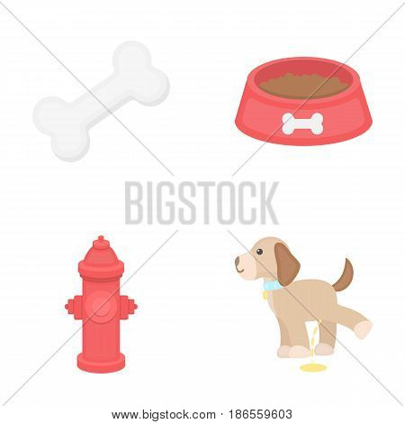 A bone, a fire hydrant, a bowl of food, a pissing dog.Dog set collection icons in cartoon style vector symbol stock illustration .